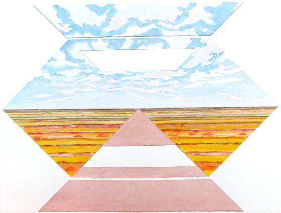 Hexagonal Prairie Landscape With Cut-Outs, 1995